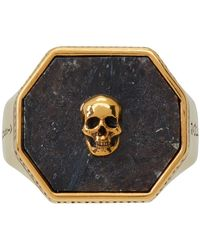 Alexander McQueen Gold And Black Nuummite Skull Signet Ring - Metallic