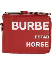Burberry - レッド Horseferry Print ジップアラウンド ウォレット - Lyst
