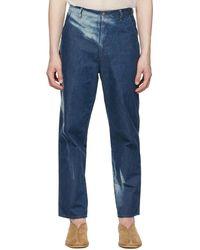 AURALEE Blue Bleached Light Hard Twist Jeans