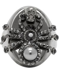 Alexander McQueen Gunmetal Spider Ring - Metallic