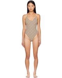 MISBHV Ssense Exclusive Beige Monogram One-piece Swimsuit - Natural