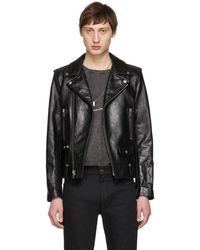Saint Laurent - Black Leather Stars Classic Moto Jacket - Lyst