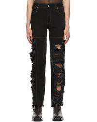 Peter Do Ssense Exclusive Black Asymmetric Combo Rip Jeans