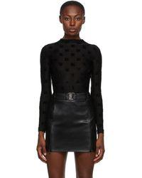 MISBHV Black Velour Monogram Bodysuit