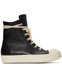 Rick Owens Black Leather High-top Trainers