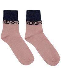 Gucci - Pink Interlocking G Socks - Lyst