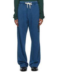 Lanvin Pantalon en jersey bouclette bleu marine