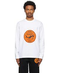 Burberry T-shirt à manches longues blanc Shark Graphic