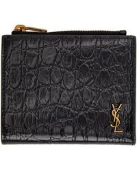 Saint Laurent - Croc Tiny Monogramme Card Holder - Lyst