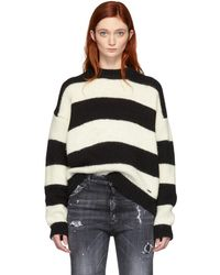 DSquared² - Black And White Alpaca Striped Sweater - Lyst