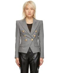 Balmain - Grey Wool Six-button Blazer - Lyst