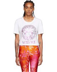 Versace - ホワイト メタリック メドゥーサ T シャツ - Lyst