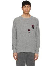 Noah Intarsia Flower Sweater - Gray