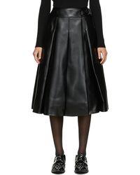 Junya Watanabe Faux-leather Pleated Skirt - Black