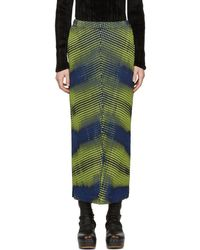 Issey Miyake - Yellow & Navy Aurora Oval Skirt - Lyst