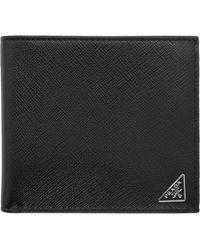 Prada - Black Triangle Logo Wallet - Lyst