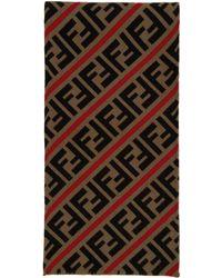 Fendi Foulard en laine rouge et brun Forever