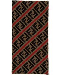 Fendi Red And Brown Wool Forever Scarf