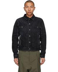 Balmain Black Denim Embossed Logo Jacket