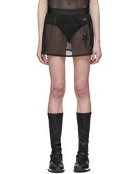 Rick Owens Black Champion Edition Sheer Mesh Toga Shorts