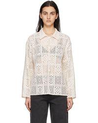 Amomento - Off-white Flower Crochet Shirt - Lyst