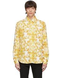 Versace Jeans Couture White & Gold Logo Baroque Print Shirt - Metallic