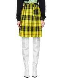 Ashley Williams Yellow Wool Tartan Kilt Skirt