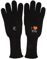 Raf Simons - Black Embroidered I Love You Gloves - Lyst