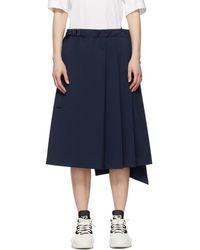 Y-3 ネイビー Stretch スカート - ブルー