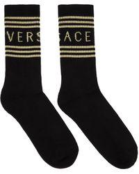 Versace ブラック & オフホワイト 1990s ロゴ ソックス