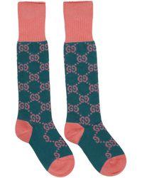 Gucci - ピンク And ブルー GG スプリーム ロング ソックス - Lyst