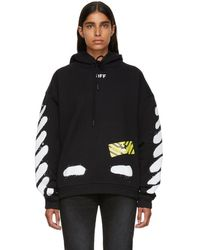 Off-White c/o Virgil Abloh - Black And White Spray Painted Hoodie - Lyst