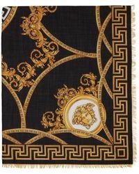 Versace ブラック & ゴールド Barocco スカーフ - メタリック