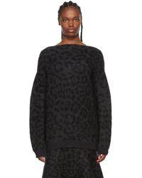 Valentino ブラック And グレー モヘア Leopard セーター