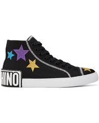 Moschino ブラック Stars ハイカット スニーカー