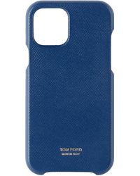 Tom Ford ネイビー グレイン レザー Iphone 11 Pro ケース - ブルー