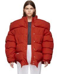 Vetements Red Upside Down Puffer Jacket