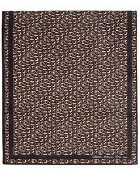 KENZO ブラック シルク モノグラム スカーフ