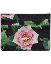 Dolce & Gabbana Black Rose Card Holder
