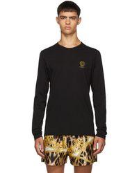 Versace T-shirt a manches longues et logo noir