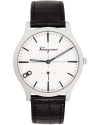 Ferragamo Silver Croc Ferragamo Slim Watch - Black