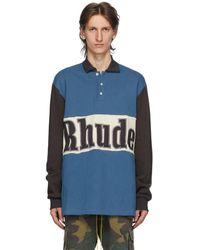 Rhude ブルー ロゴ Rugby ロング スリーブ ポロシャツ
