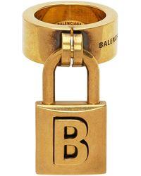Balenciaga ゴールド ロック リング - メタリック