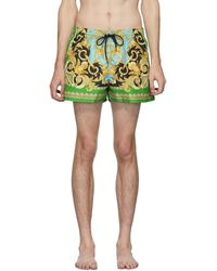 Versace Green And Blue Barocco Swim Shorts