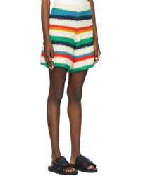 The Elder Statesman Off- Organic Cotton Stripe Shorts - White