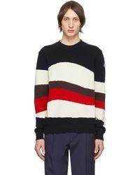 Moncler トリコロール ウール & モヘア レッド Wave セーター