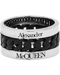Alexander McQueen - シルバー And ブラック チェーン リング - Lyst