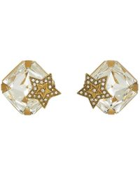 Dolce & Gabbana - Gold Square Crystal Earrings - Lyst