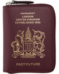 Burberry - Burgundy Leather Passport Keychain - Lyst