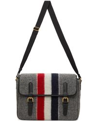 Thom Browne Sac messager gris à rayure tricolore